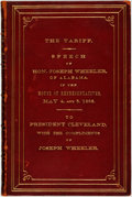 Books:Americana & American History, [U.S. Presidents]. [Grover Cleveland]. PRESENTATION COPY. JosephWheeler. SIGNED. The Tariff. Speech of Hon. Joseph ...