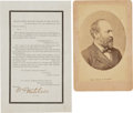 Photography:Cabinet Photos, James A. Garfield Cabinet Photo and General Orders No. 8 IssuingInstructions Regarding Garfield's Burial. ...