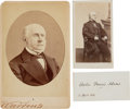 Photography, Charles Francis Adams Signed Card, Carte de Visite, and Cabinet Photo.... (Total: 3 )
