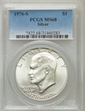 Eisenhower Dollars, 1976-S $1 Silver MS68 PCGS. PCGS Population (699/0). NGC Census: (73/0). Mintage: 11,000,000. Numismedia Wsl. Price for pro...