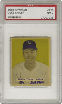 1949 Bowman Duke Snider #226 PSA NM 7. The Brooklyn Dodgers' Hall of Fame center fielder has every reason to smile, as t...