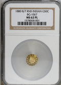 California Fractional Gold, 1880/70 50C Indian Round 50 Cents, BG-1067, Low R.4, MS62 ProoflikeNGC....