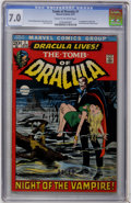 Bronze Age (1970-1979):Horror, Tomb of Dracula #1 (Marvel, 1972) CGC FN/VF 7.0 Cream to off-whitepages....