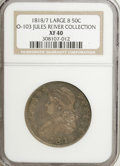 Bust Half Dollars: , 1818/7 50C Large 8 XF40 NGC. O-103. Ex: Jules Reiver Collection.NGC Census: (0/0). PCGS Population (3/57). (#6115)...