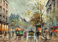 ANTOINE BLANCHARD (French, 1910-1988) Trolley in Paris Oil on canvas 13 x 18 inches (33.0 x 45.7