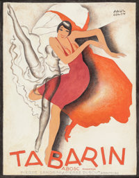 PAUL COLIN (French, 1892-1985) Tabarin, 1928 Gouache and colored pencil on paper 12-1/4 x 9-1/2 i
