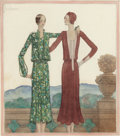 Works on Paper, GEORGES LEPAPE (French, 1887-1971). Loyal Companions, 1925. Watercolor on paper. 10-7/8 x 9-1/2 inches (27.6 x 24.1 cm) ...