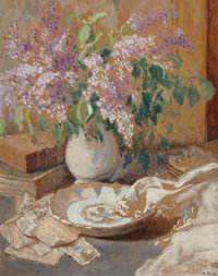 MARTHE ORANT (French, 1874-1953) Nature Morte aux Lilas Oil on board 31-3/4 x 25-1/2 inches (80.6
