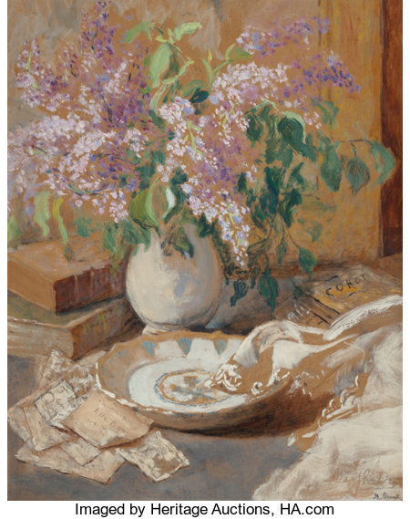 MARTHE ORANT (French, 1874-1953) Nature Morte aux Lilas Oil on board 31-3/4 x 25-1/2 inches (80.6 x 64.8 cm) Signed ...