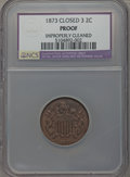 Proof Two Cent Pieces, 1873 2C Closed 3 -- Improperly Cleaned -- NCS. Proof....