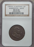 Colonials, 1795 1/2P Washington Grate Halfpenny, Large Buttons, Reeded Edge, W-10955, Baker-29B or -29AA, R.1, MS65 Brown NGC....