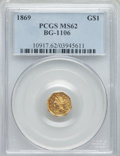 California Fractional Gold , 1869 $1 Liberty Octagonal 1 Dollar, BG-1106, High R.4, MS62PCGS....