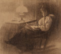 Fine Art - Work on Paper:Drawing, AMERICAN SCHOOL (Late 19th/Early 20th Century). LadyReading. Charcoal on paper. 13 x 14 inches (33.0 x 35.6 cm)(sheet)...