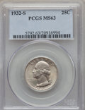 Washington Quarters: , 1932-S 25C MS63 PCGS. PCGS Population (1010/1201). NGC Census:(492/716). Mintage: 408,000. Numismedia Wsl. Price for probl...