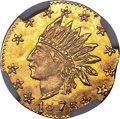 California Fractional Gold , 1875 25C Indian Round 25 Cents, BG-848, Low R.7, MS65 NGC....