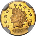California Fractional Gold , 1872 $1 Indian Round Dollar, BG-1208, Low R.6, MS62 NGC....