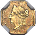 California Fractional Gold , 1853 50C Peacock Reverse 50 Cents, BG-303, Low R.7, AU58 NGC....
