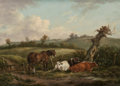 Fine Art - Painting, European:Antique  (Pre 1900), BRITISH SCHOOL (Late 18th Century). Pastoral Landscapes (twoworks). Oil on panel, each. 13-1/4 x 18-1/4 inches (33.7 x ...(Total: 2 Items)