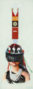 Fine Art - Painting, Russian, EMILY LAMBERT (American, 20th Century). Ceremony Pueblo double flute, Chief Peyote Staff, Indian Girl's Headdress, and Ind... (Total: 4 Items)