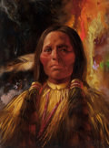 Fine Art - Painting, Russian, DONALD JAMES ZOLAN (American, 20th Century). Three Fingers -Cheyenne 1898. Oil on canvas. 16 x 12 inches (40.6 x 30.5 c...