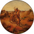 Fine Art - Painting, European, AMERICAN SCHOOL (Late 19th Century). Buffalo Hunt. Oil onpanel. 19 x 19 inches (48.3 x 48.3 cm) (oval). PROPERTY FROM...