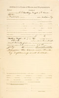 Miscellaneous:Ephemera, [U.S. Seventh Cavalry]. Affidavit to Loss of Horse andEquipments....