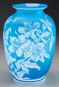 Art Glass:Webb, THOMAS WEBB CAMEO GLASS FLORAL VASE, circa 1880. 8-1/2 inches high(21.6 cm). PROPERTY FROM THE COLLECTION OF LOLA McMURRY...