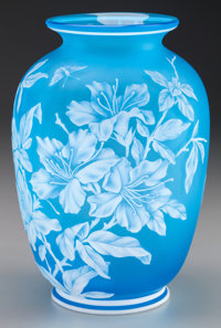 THOMAS WEBB CAMEO GLASS FLORAL VASE, circa 1880 8-1/2 inches high (21.6 cm)  PROPERTY FROM THE COLLECTION OF