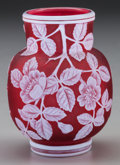 Art Glass:Webb, THOMAS WEBB OVERLAY GLASS FLORAL CABINET VASE, Stourbridge,England, circa 1880. 3-1/4 inches high (8.3 cm). PROPERTY FROM...