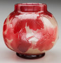Glass, GALLE FIRE POLISHED GLASS CABINET VASE, circa 1900. Marks: Gallé. 3-1/4 inches high (8.3 cm). PROPERTY FROM THE COLLEC...