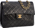 """Luxury Accessories:Bags, Chanel Black Quilted Lambskin Leather Double Flap Bag with GoldHardware. Very Good Condition. 10"""" Width x 7.5""""Height..."""