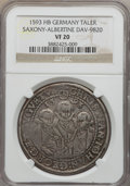 German States:Saxony, German States: Saxony. Christian II Johann Georg & August Taler 1593-HB VF20 NGC,...
