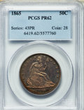 Proof Seated Half Dollars: , 1865 50C PR62 PCGS. PCGS Population (17/120). NGC Census: (15/132). Mintage: 500. Numismedia Wsl. Price for problem free NG...