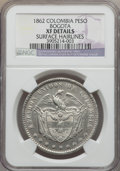Colombia, Colombia: Estados Unidos Peso 1862 XF Details (Surface Hairlines) NGC,...