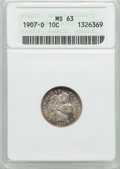 Barber Dimes: , 1907-D 10C MS63 ANACS. NGC Census: (10/38). PCGS Population (8/40).Mintage: 4,080,000. Numismedia Wsl. Price for problem f...