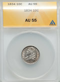 Bust Dimes: , 1834 10C Small 4 AU55 ANACS. NGC Census: (18/201). PCGS Population(27/111). Mintage: 635,000. Numismedia Wsl. Price for pr...