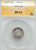 Bust Dimes: , 1830 10C Medium 10C MS61 ANACS. NGC Census: (10/100). PCGSPopulation (4/91). Mintage: 510,000. Numismedia Wsl. Price for p...