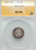 Bust Dimes: , 1827 10C AU50 ANACS. NGC Census: (7/200). PCGS Population (13/208).Mintage: 1,300,000. Numismedia Wsl. Price for problem f...