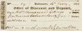 Autographs:Statesmen, Declaration Signer Charles Carroll of Carrollton Check Signed....