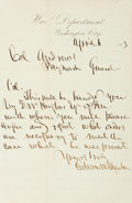 Autographs:Statesmen, [Civil War]. Secretary of War Edwin Stanton Autograph LetterSigned....