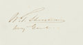 Autographs:Military Figures, General William Tecumseh Sherman Signature....