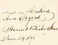 Autographs:Authors, Author Harriet Beecher Stowe Autograph Quotation Signed....