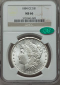 Morgan Dollars: , 1884-CC $1 MS66 NGC. CAC. NGC Census: (932/119). PCGS Population (1596/98). Mintage: 1,136,000. Numismedia Wsl. Price for p...
