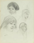 Fine Art - Painting, Russian, DOROTHY BRETT (American, 1883-1977). Study of Indian Girls.Pencil on paper. 13 x 10-3/8 inches (33.0 x 26.4 cm). Signed...