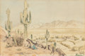 Fine Art - Painting, Russian, J.B. GIRARD (American, 19th Century). Tuscon, 1850.Watercolor and pencil on paper. 5 x 7-1/2 inches (12.7 x 19.1 cm)(s...