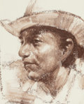 Fine Art - Painting, Russian, RAMON KELLEY (American, b. 1939). Indian Cowboy. Crayon andgouache on board. 9-1/4 x 7-1/4 inches (23.5 x 18.4 cm) (sig...