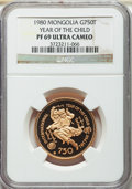 Mongolia, Mongolia: People's Republic gold Proof 750 Tugrik 1980 PR69 UltraCameo NGC,...