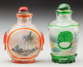 Asian:Chinese, TWO CHINESE INTERNALLY DECORATED PEKING GLASS SNUFF BOTTLES. 2-1/2inches high (6.4 cm) (taller). PROPERTY FROM THE COLLEC... (Total:2 Items)