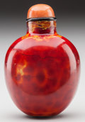 Asian:Chinese, A CHINESE CARVED MACARONI AGATE SNUFF BOTTLE. 2-3/8 inches high(6.0 cm). PROPERTY FROM THE COLLECTION OF LOLA McMURRY, WA...