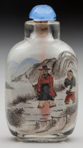 Asian:Chinese, A CHINESE INTERNALLY DECORATED GLASS SNUFF BOTTLE. 3 inches high(7.6 cm). PROPERTY FROM THE COLLECTION OF LOLA McMURRY, W...